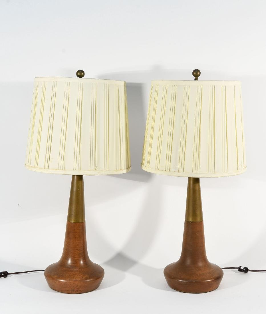 PAIR OF LIGHTOLIER TABLE LAMPS W/ ORIGINAL SHADES