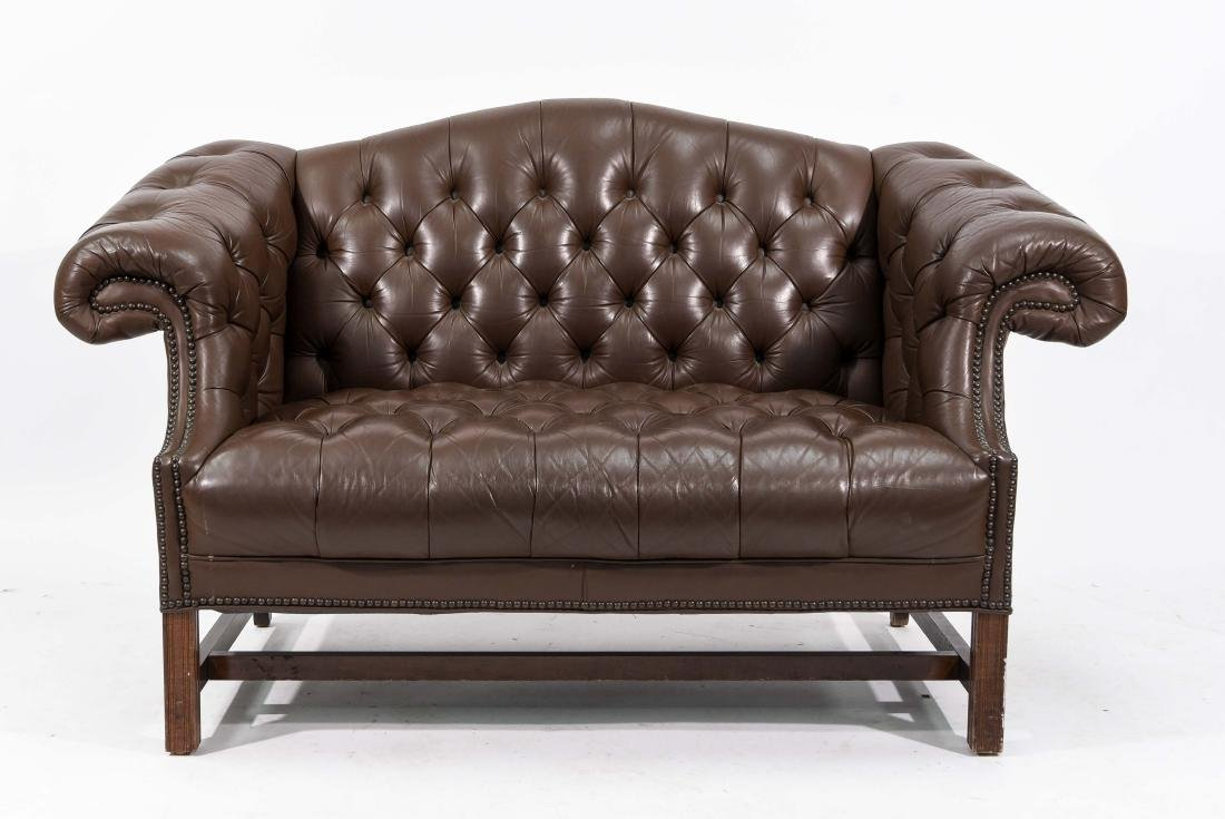 CHESTERFIELD STYLE LEATHER SETTEE