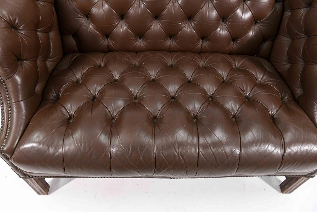 CHESTERFIELD STYLE LEATHER SETTEE - 2
