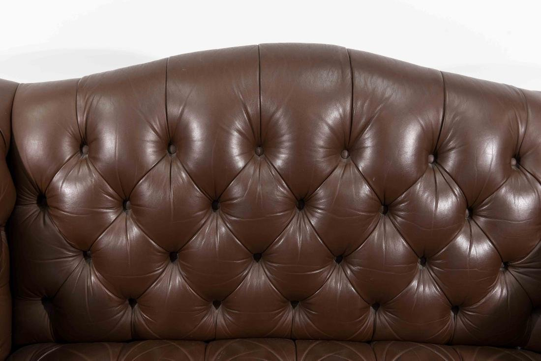 CHESTERFIELD STYLE LEATHER SETTEE - 3
