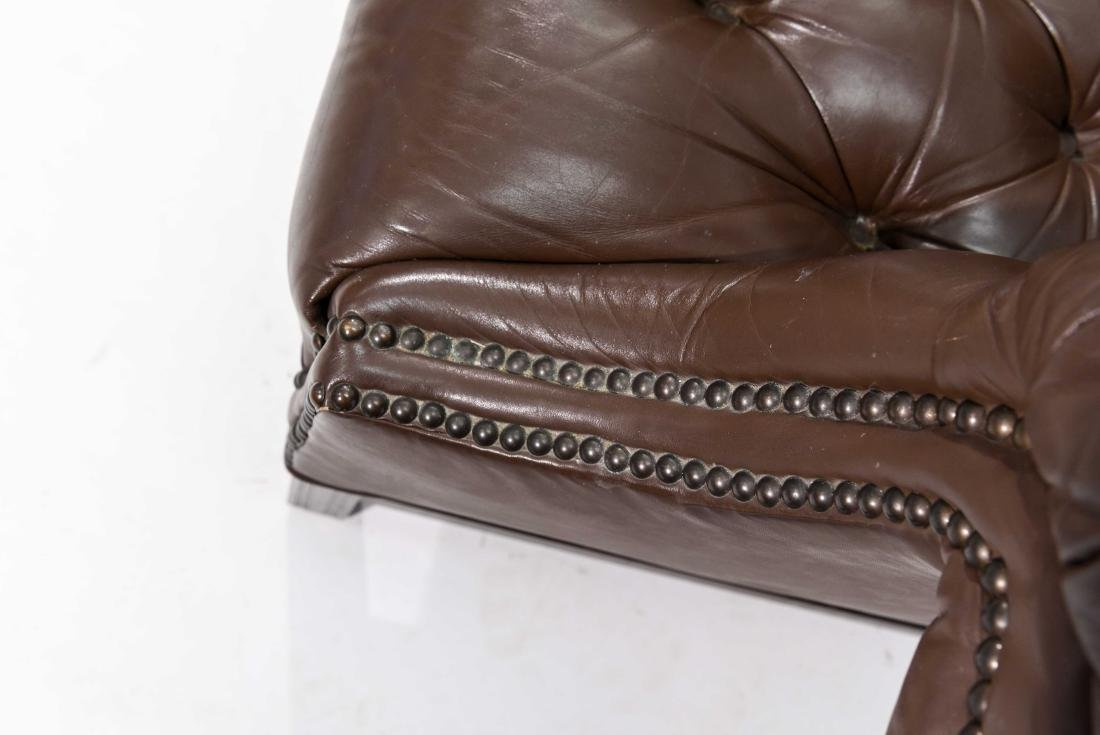 CHESTERFIELD STYLE LEATHER SETTEE - 6
