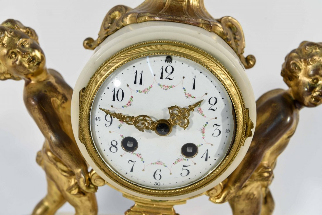 MARBLE AND BRASS CLOCK SET WITH URNS - 2