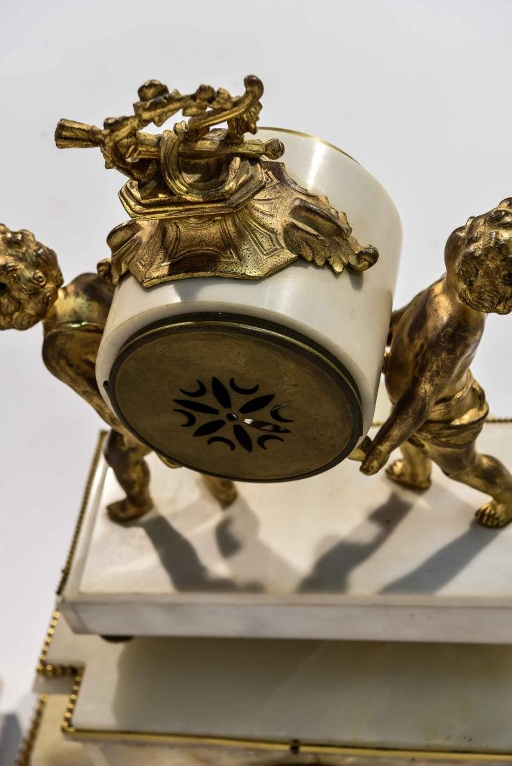 MARBLE AND BRASS CLOCK SET WITH URNS - 8