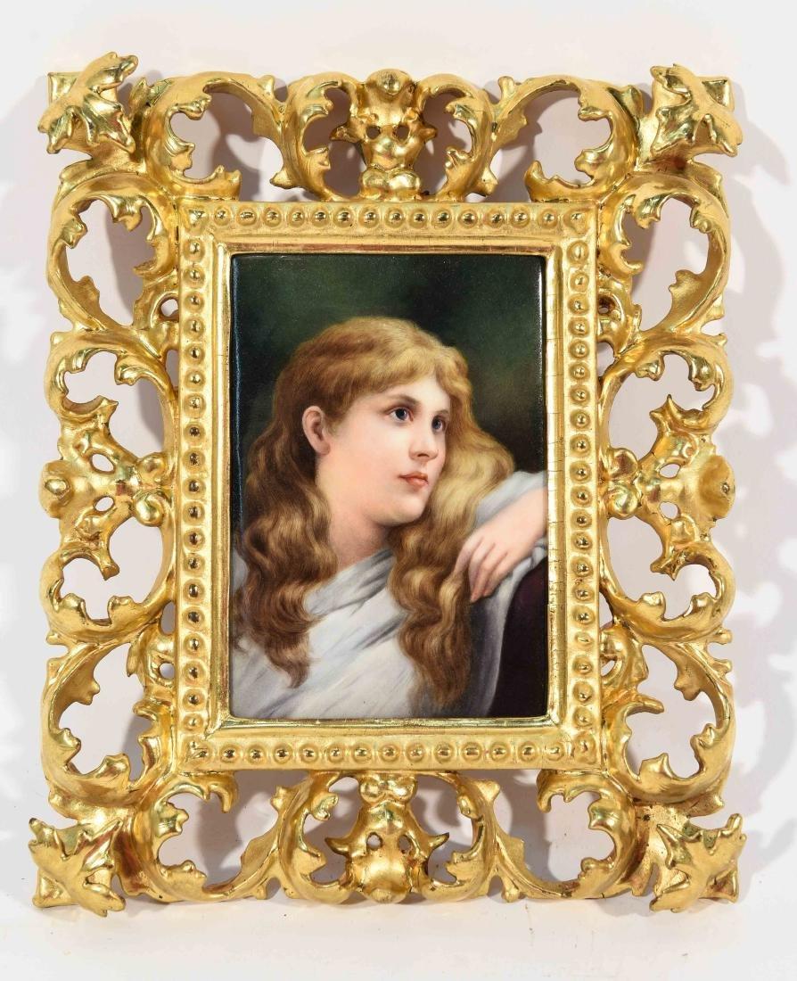 K.P.M PLAQUE PORTRAIT OF A YOUNG GIRL