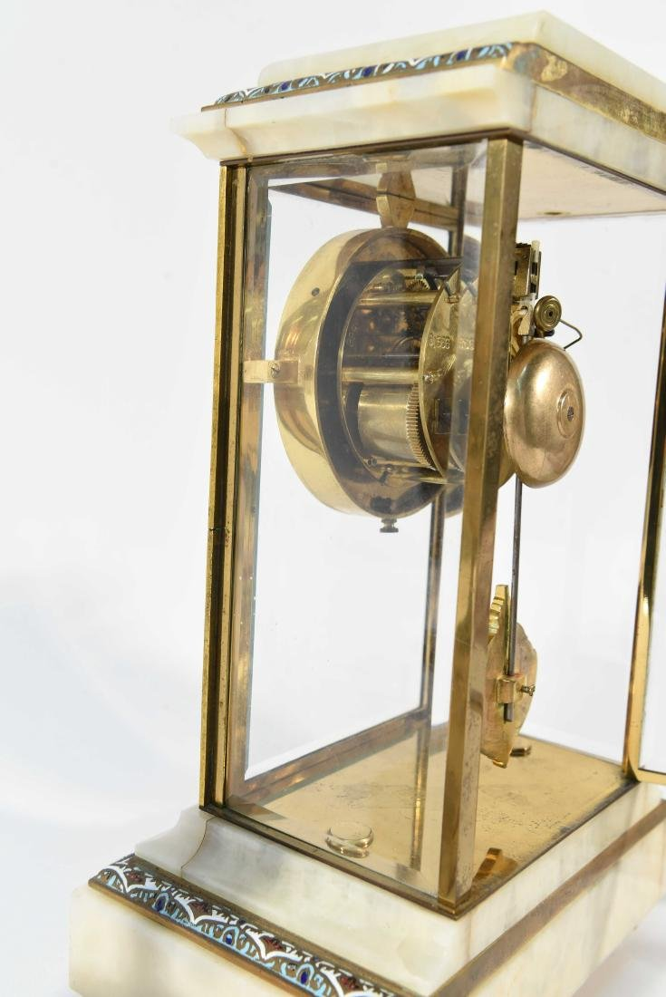 CHAMPLEVE & MARBLE MANTEL CLOCK AND URNS - 10