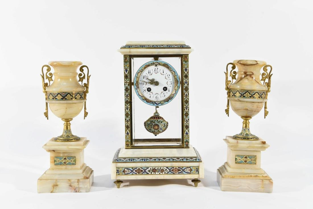 CHAMPLEVE & MARBLE MANTEL CLOCK AND URNS