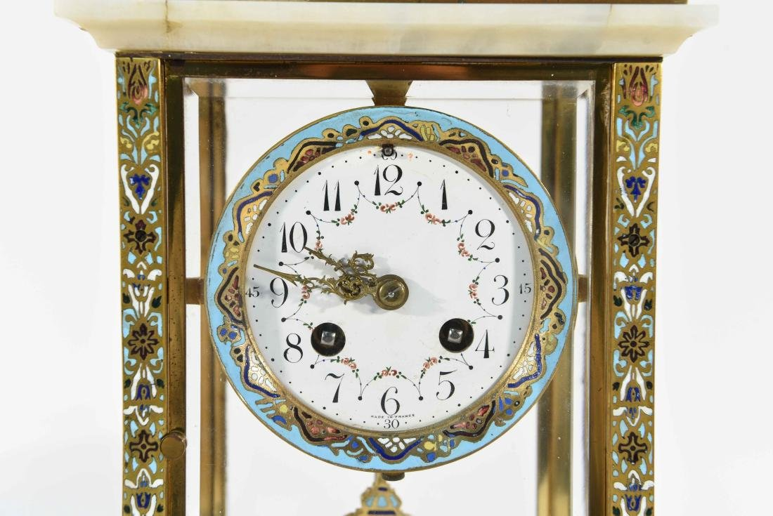 CHAMPLEVE & MARBLE MANTEL CLOCK AND URNS - 2