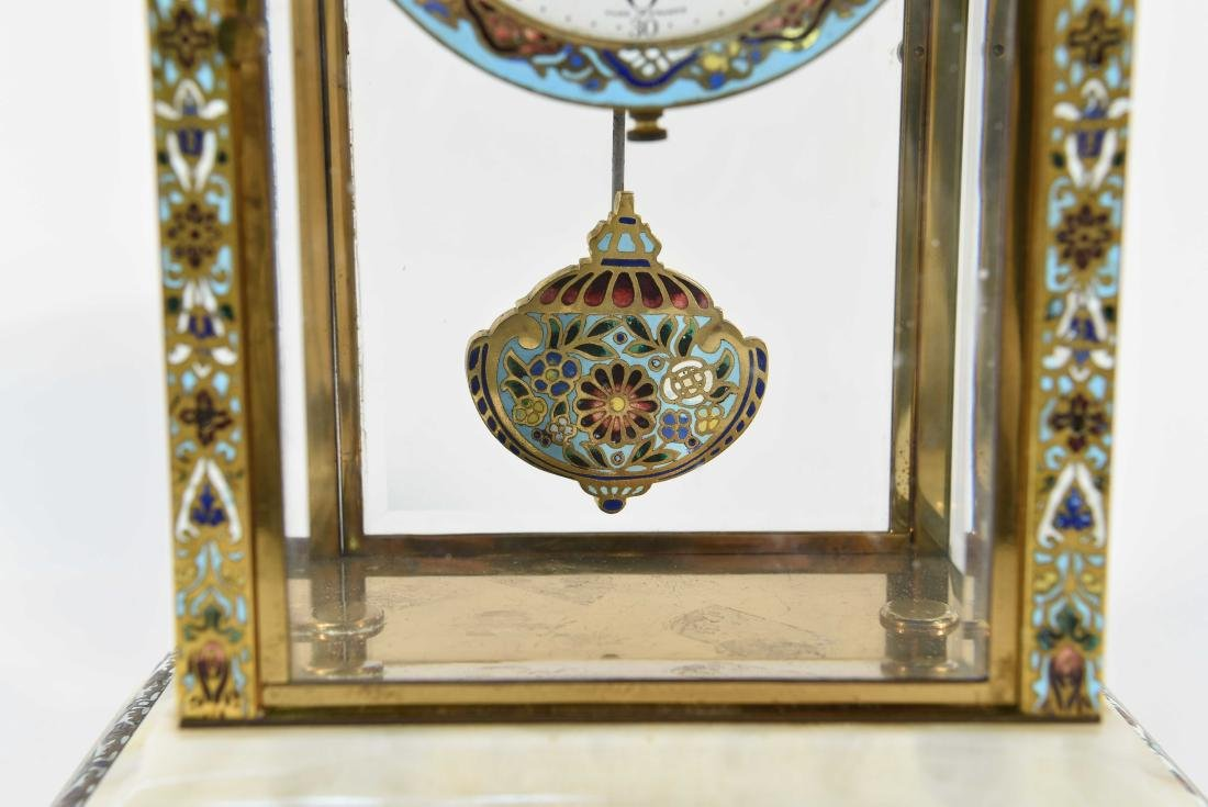 CHAMPLEVE & MARBLE MANTEL CLOCK AND URNS - 3