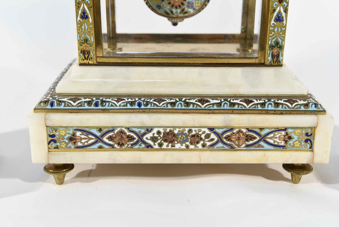 CHAMPLEVE & MARBLE MANTEL CLOCK AND URNS - 4
