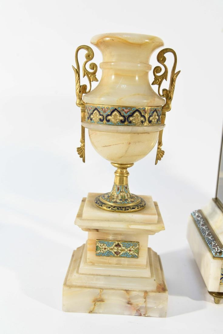 CHAMPLEVE & MARBLE MANTEL CLOCK AND URNS - 5