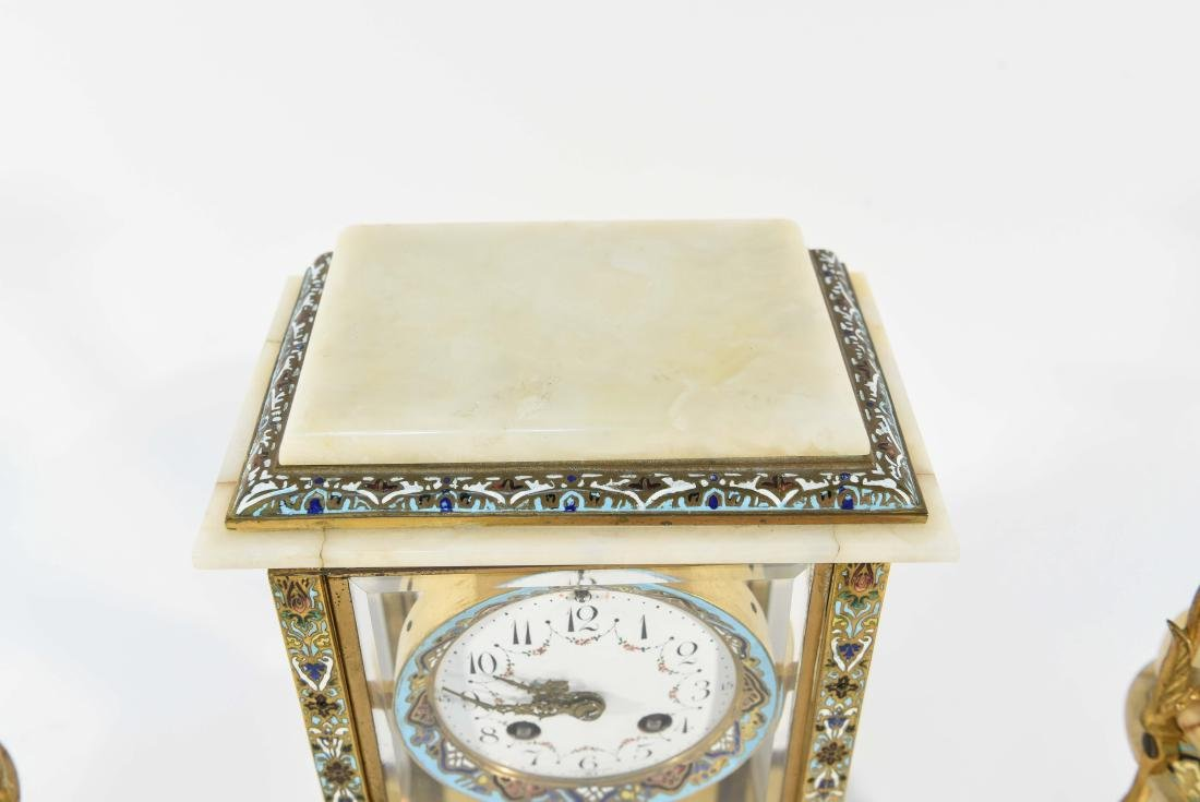 CHAMPLEVE & MARBLE MANTEL CLOCK AND URNS - 7