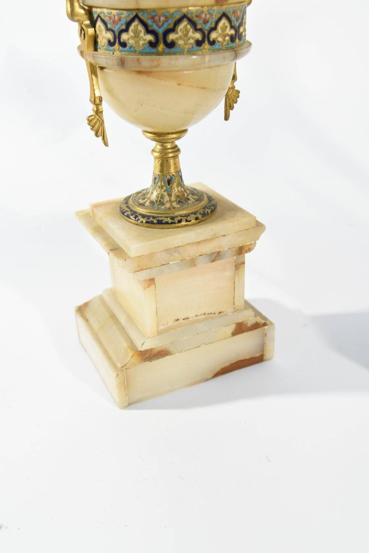 CHAMPLEVE & MARBLE MANTEL CLOCK AND URNS - 9
