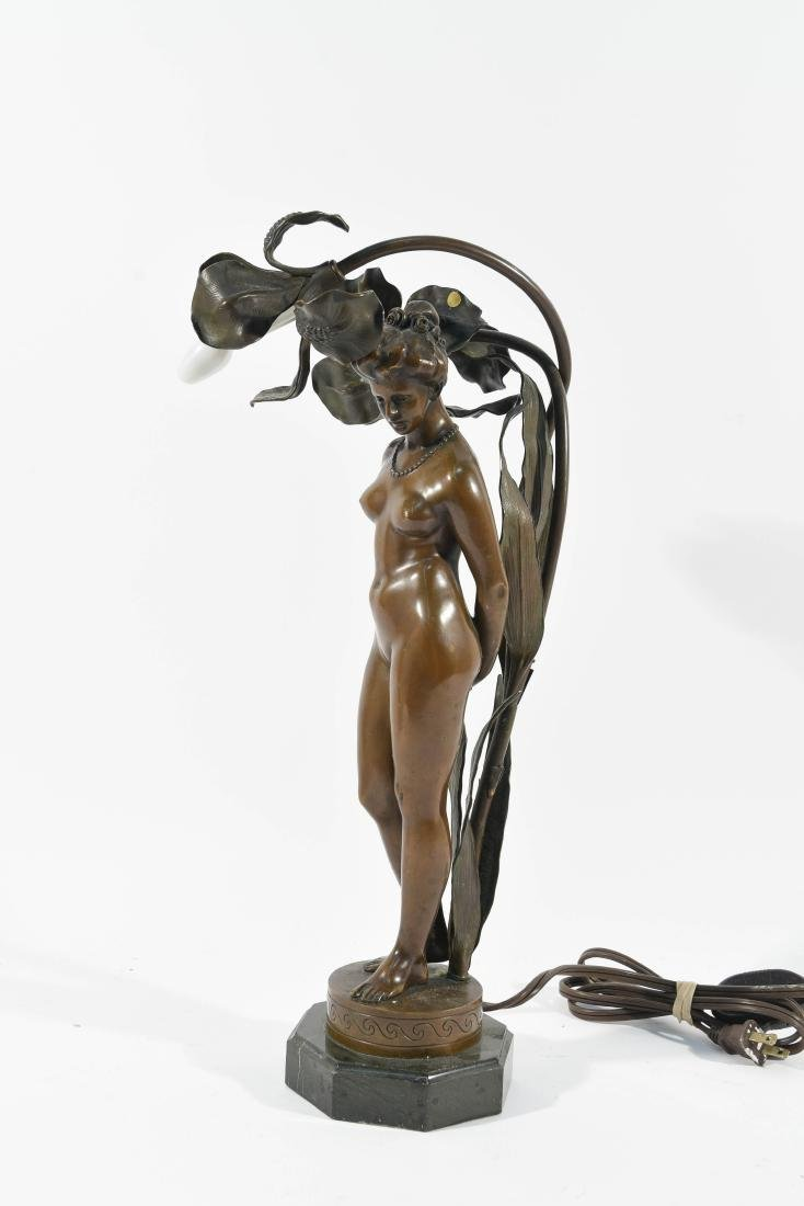 BRONZE FLORAL FEMALE NUDE LAMP