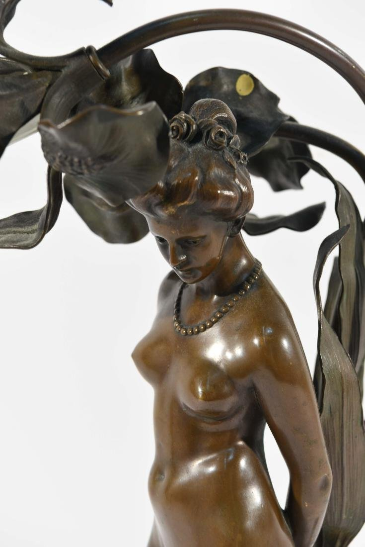 BRONZE FLORAL FEMALE NUDE LAMP - 2