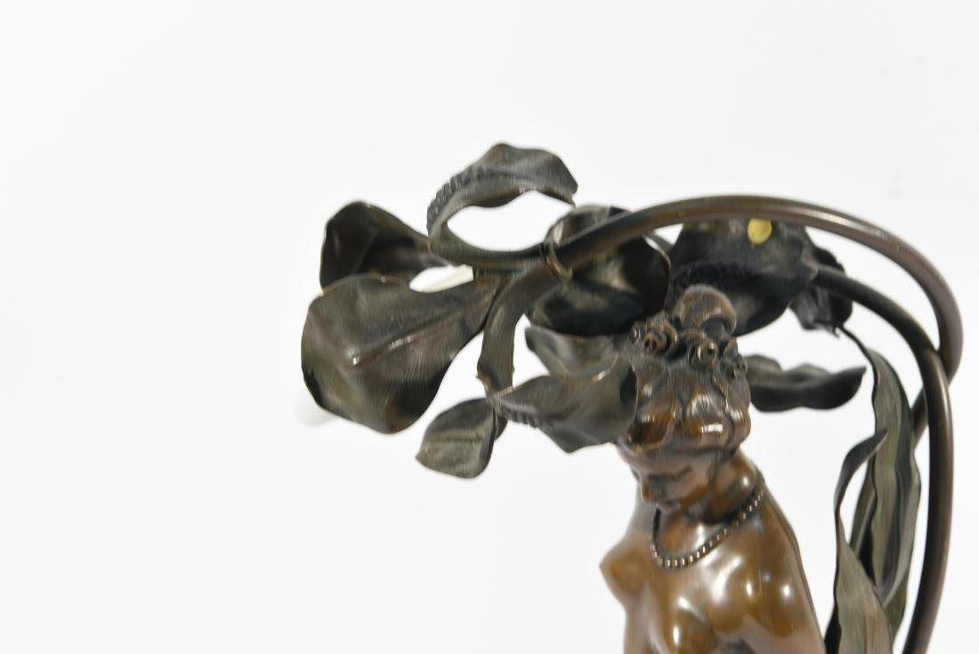 BRONZE FLORAL FEMALE NUDE LAMP - 3