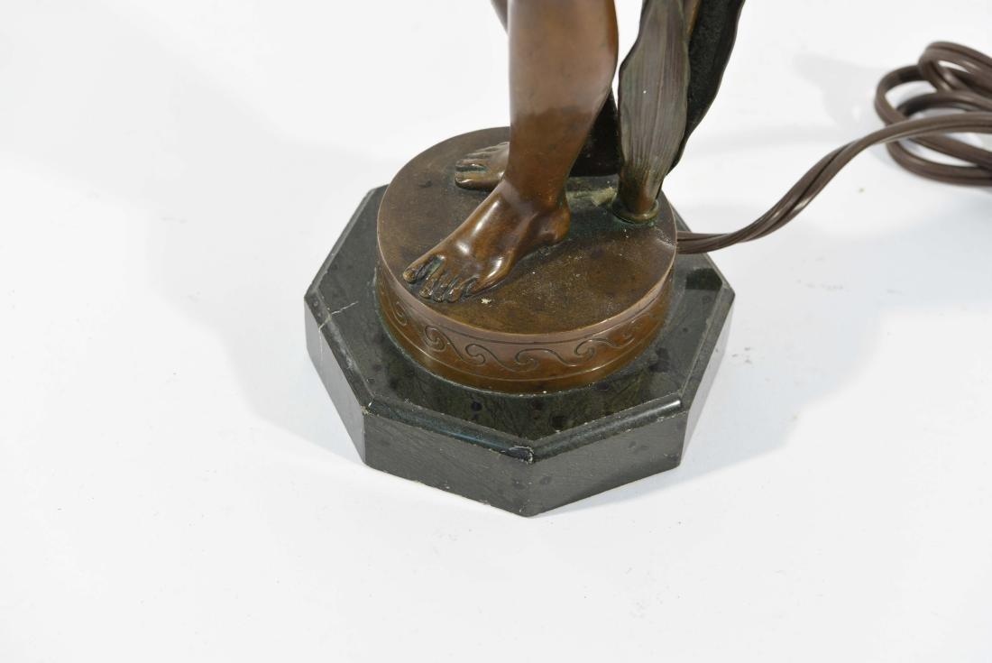 BRONZE FLORAL FEMALE NUDE LAMP - 5