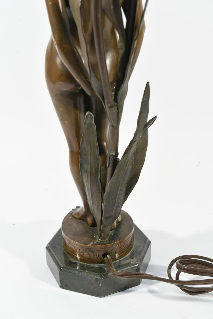 BRONZE FLORAL FEMALE NUDE LAMP - 7