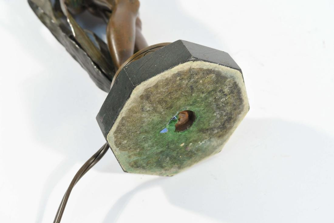 BRONZE FLORAL FEMALE NUDE LAMP - 8
