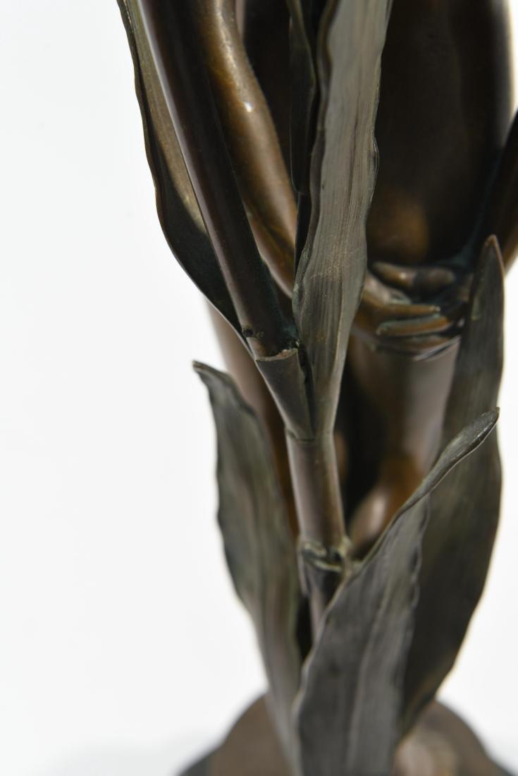 BRONZE FLORAL FEMALE NUDE LAMP - 9