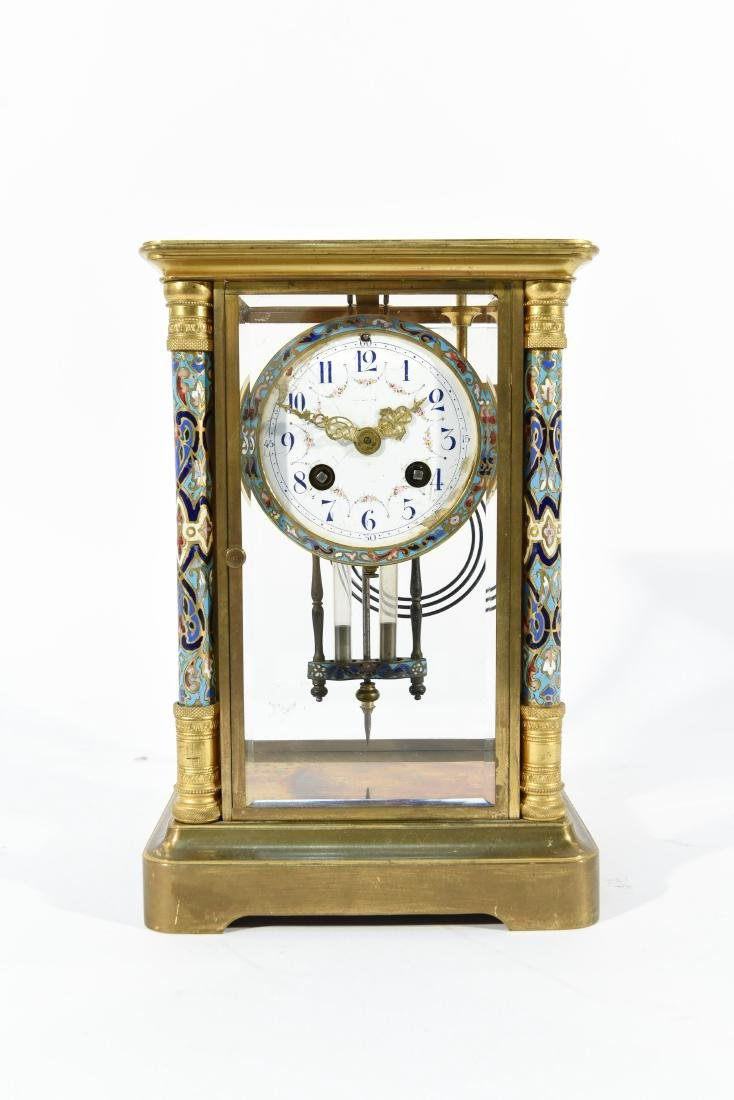 FRENCH CHAMPLEVE ENAMEL AND BRASS MANTEL CLOCK