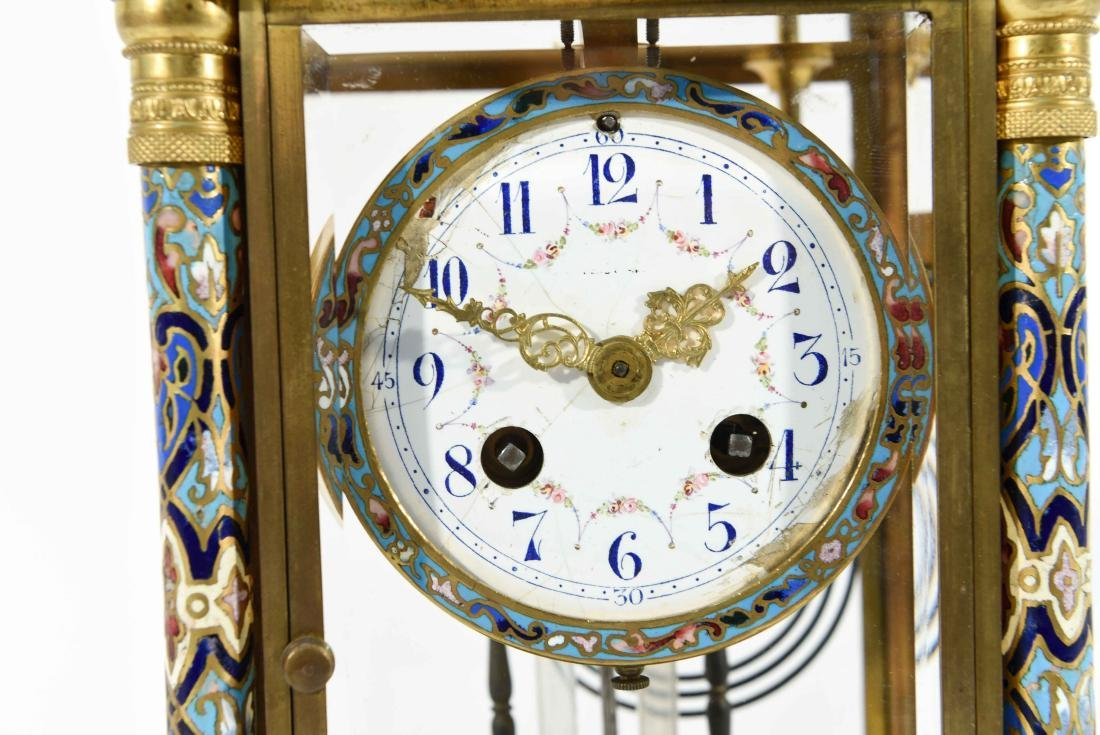FRENCH CHAMPLEVE ENAMEL AND BRASS MANTEL CLOCK - 2