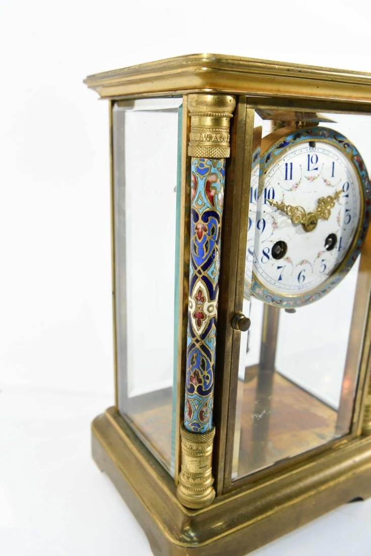FRENCH CHAMPLEVE ENAMEL AND BRASS MANTEL CLOCK - 4