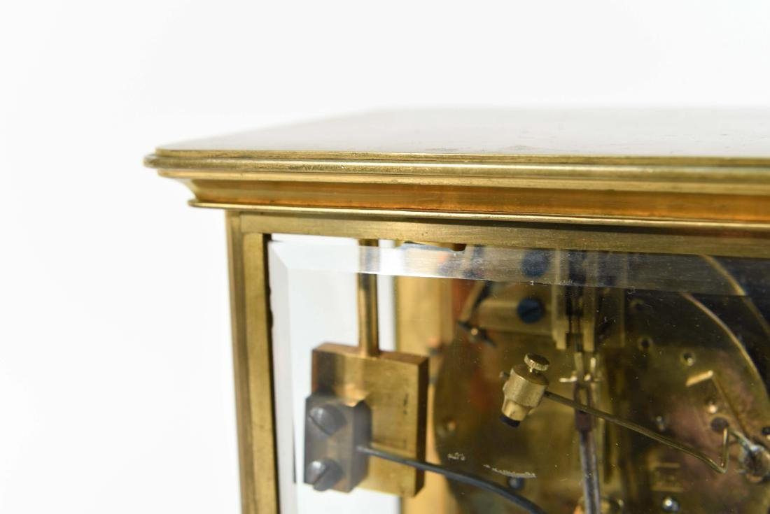 FRENCH CHAMPLEVE ENAMEL AND BRASS MANTEL CLOCK - 6