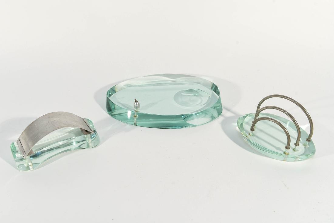 THREE PIECE MODERNIST GLASS DESK SET