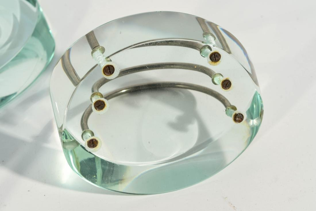 THREE PIECE MODERNIST GLASS DESK SET - 7