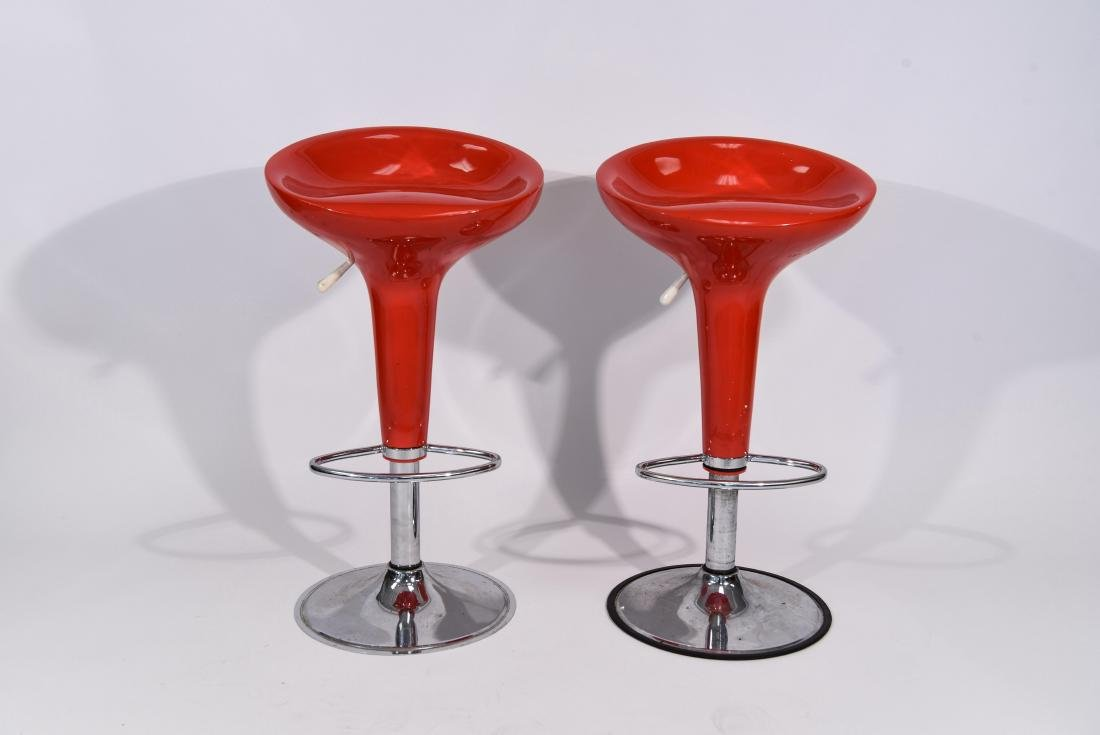PAIR OF RED MAGIS STYLE BAR STOOLS