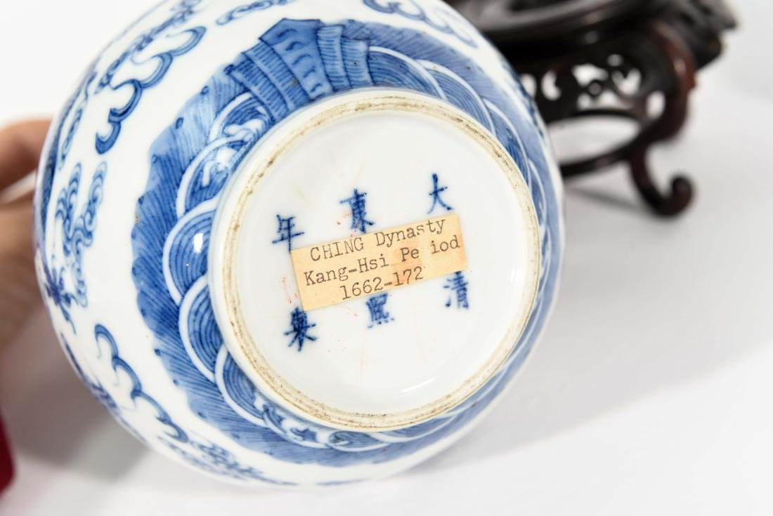 PAIR OF CHINESE VASES WITH BLUE AND WHITE MOTIF - 6