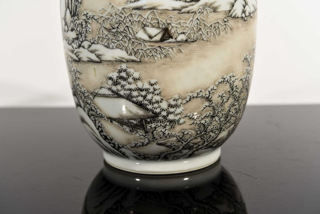 CHINESE SNOW SCENE REPUBLIC VASE - 2