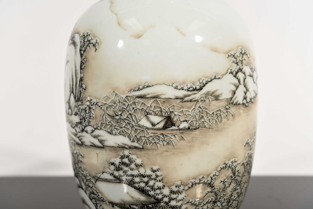 CHINESE SNOW SCENE REPUBLIC VASE - 3