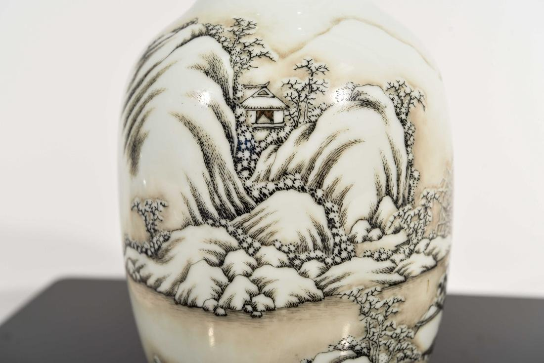 CHINESE SNOW SCENE REPUBLIC VASE - 5