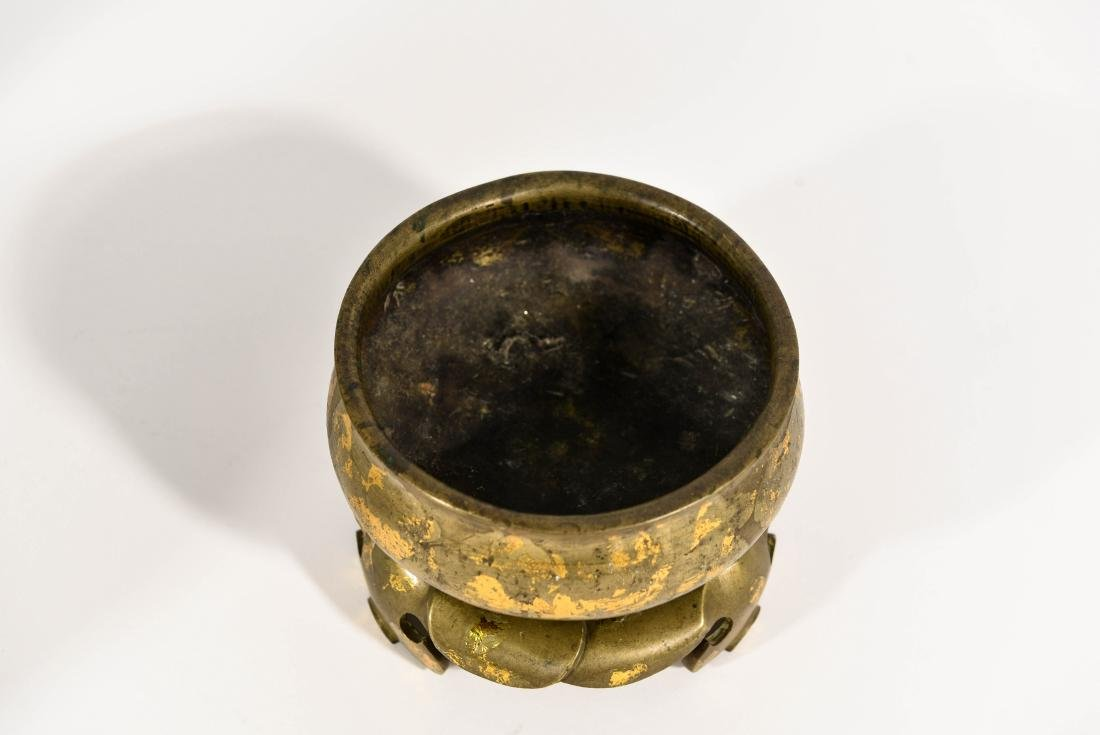 CHINESE 19TH C. BRONZE SENSOR WITH STAND - 2