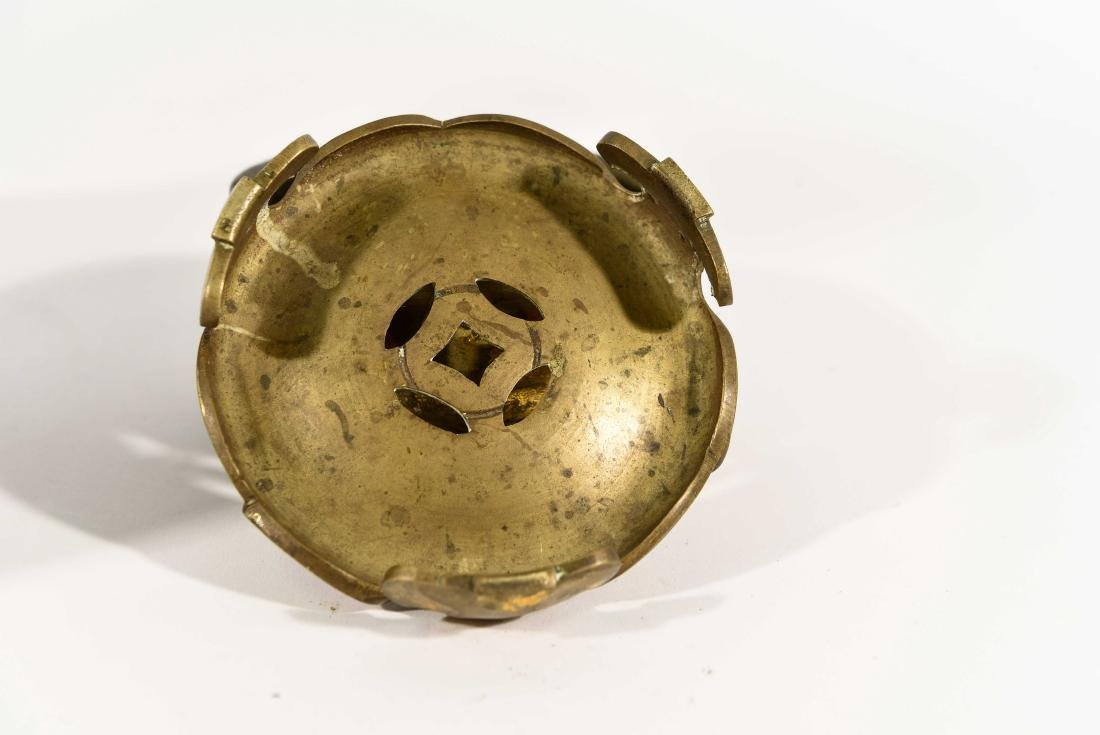 CHINESE 19TH C. BRONZE SENSOR WITH STAND - 6