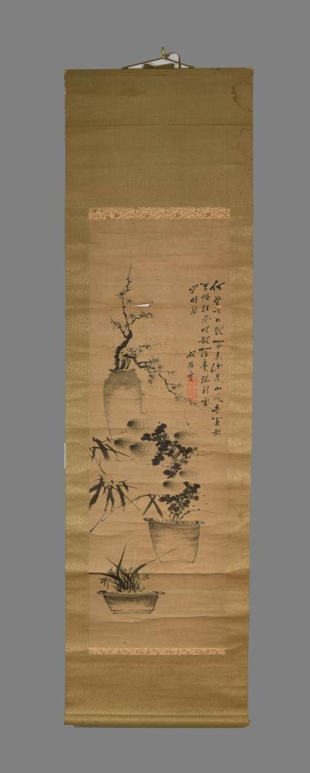 CHINESE SCROLL WITH BONZAI