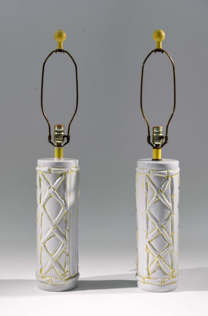 MID-CENTURY CERAMIC LAMPS WITH BAMBOO MOTIF
