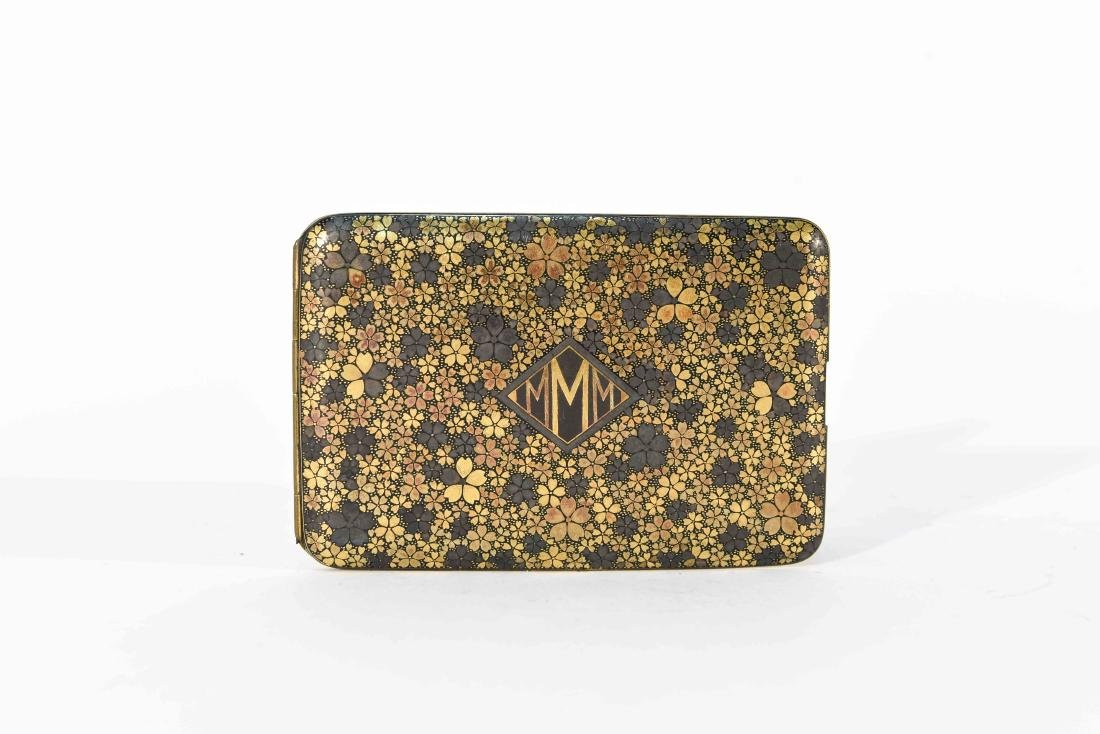 SILVER WITH GILT FLORAL DESIGN CARD CASE