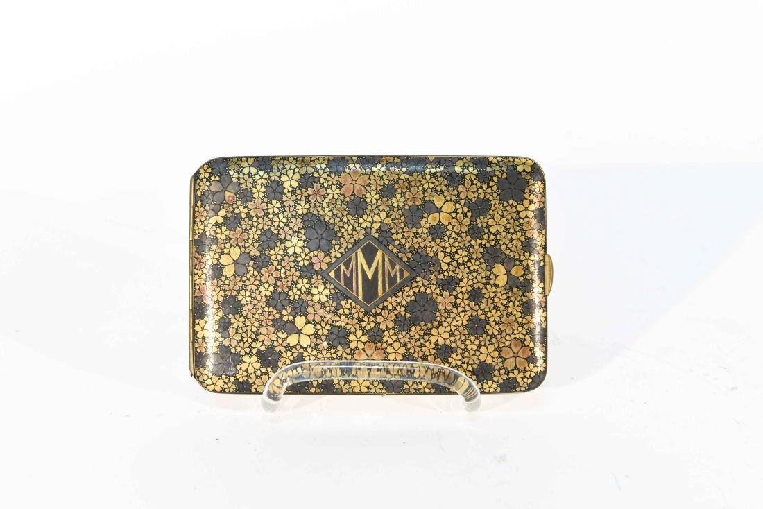 SILVER WITH GILT FLORAL DESIGN CARD CASE - 2