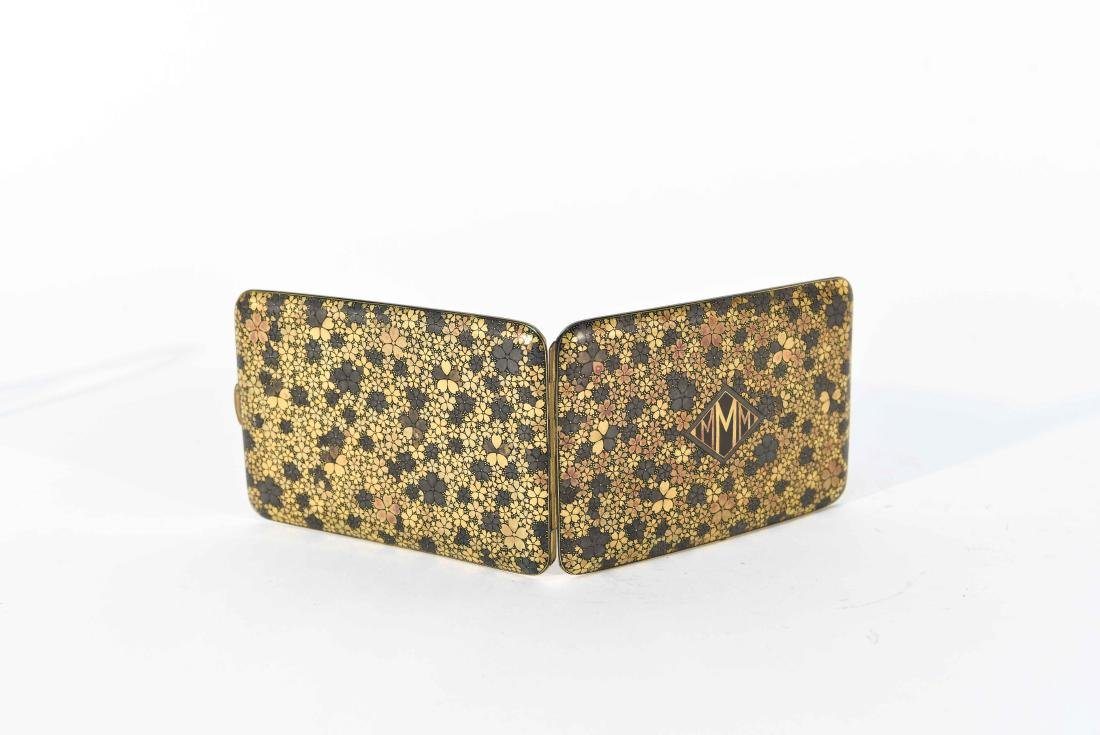 SILVER WITH GILT FLORAL DESIGN CARD CASE - 7