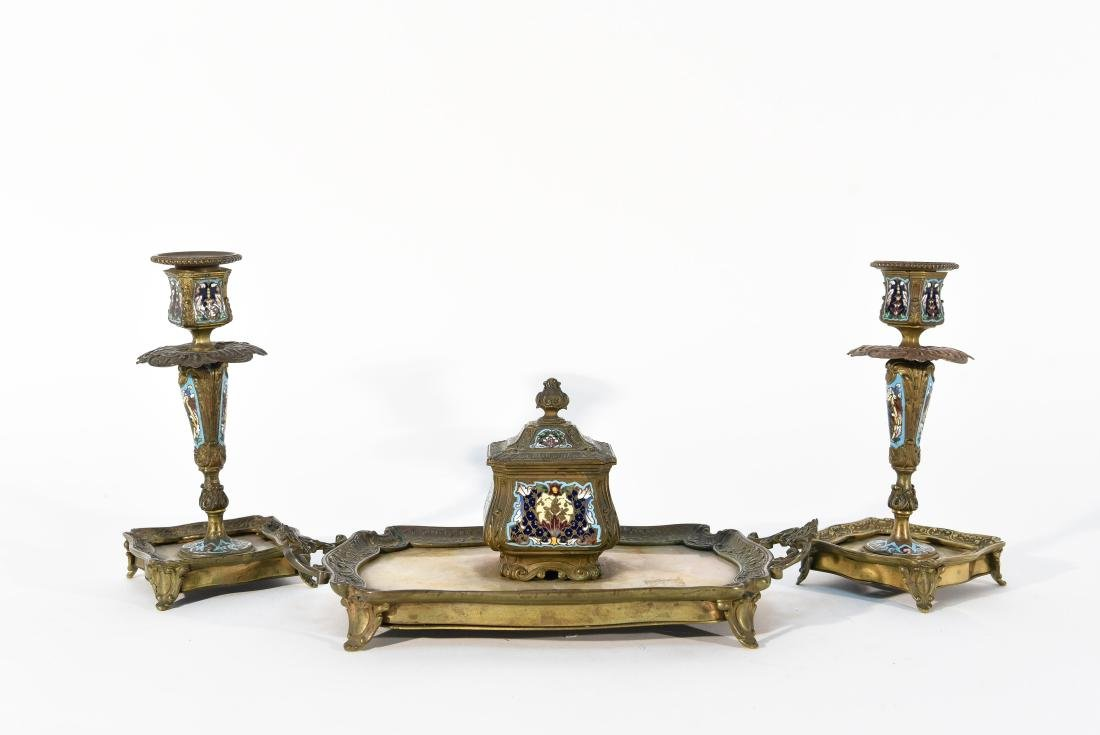 CHAMPLEVE CANDLE STICKS AND INKWELL /TRAY DESK SET
