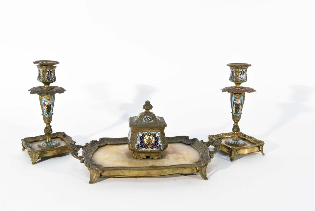 CHAMPLEVE CANDLE STICKS AND INKWELL /TRAY DESK SET - 3