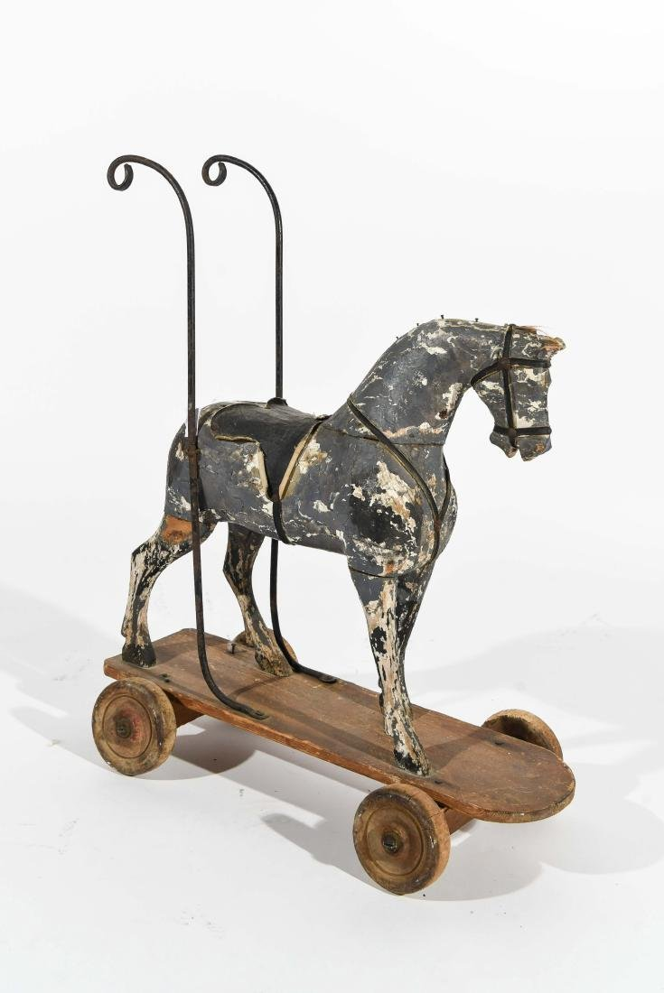 ANTIQUE FOLK ART CHILDS PUSH HORSE