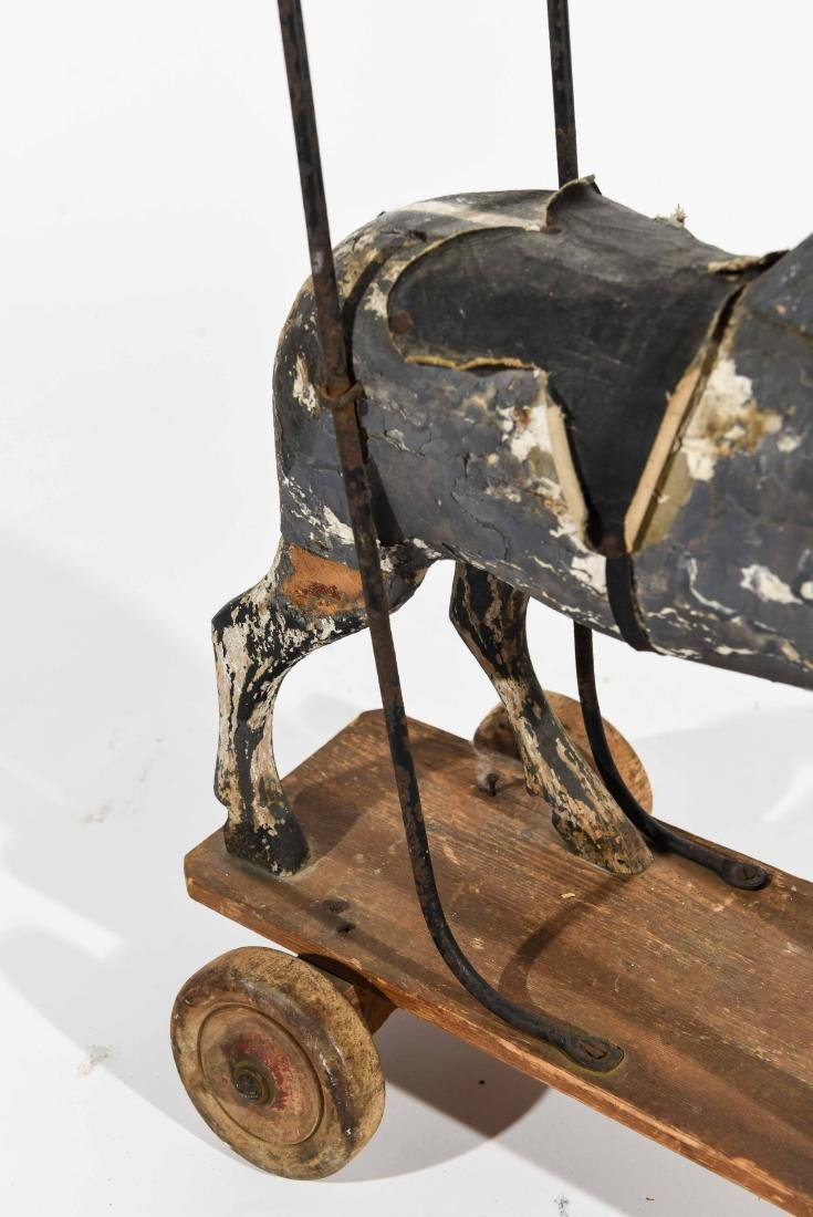 ANTIQUE FOLK ART CHILDS PUSH HORSE - 6