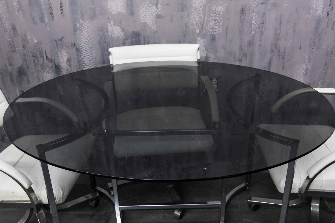 CHROME AND SMOKE GLASS TABLE AND CHAIRS - 2