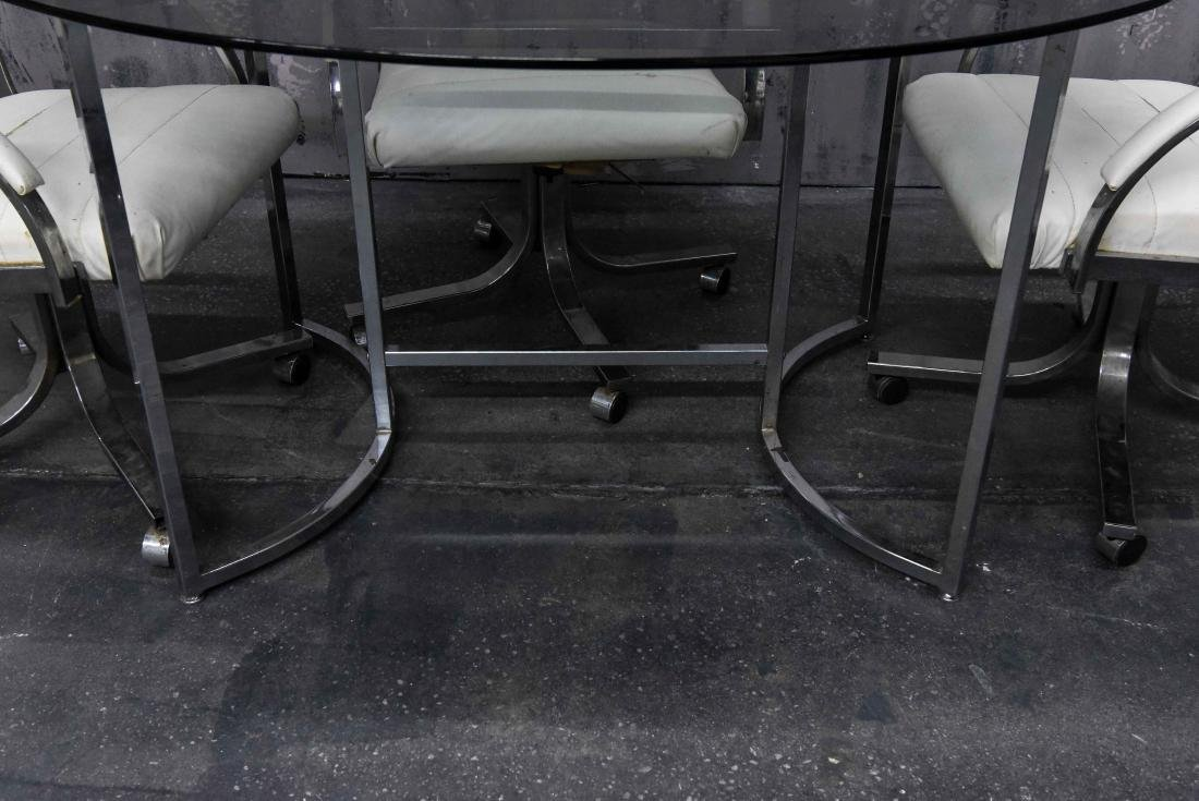 CHROME AND SMOKE GLASS TABLE AND CHAIRS - 3