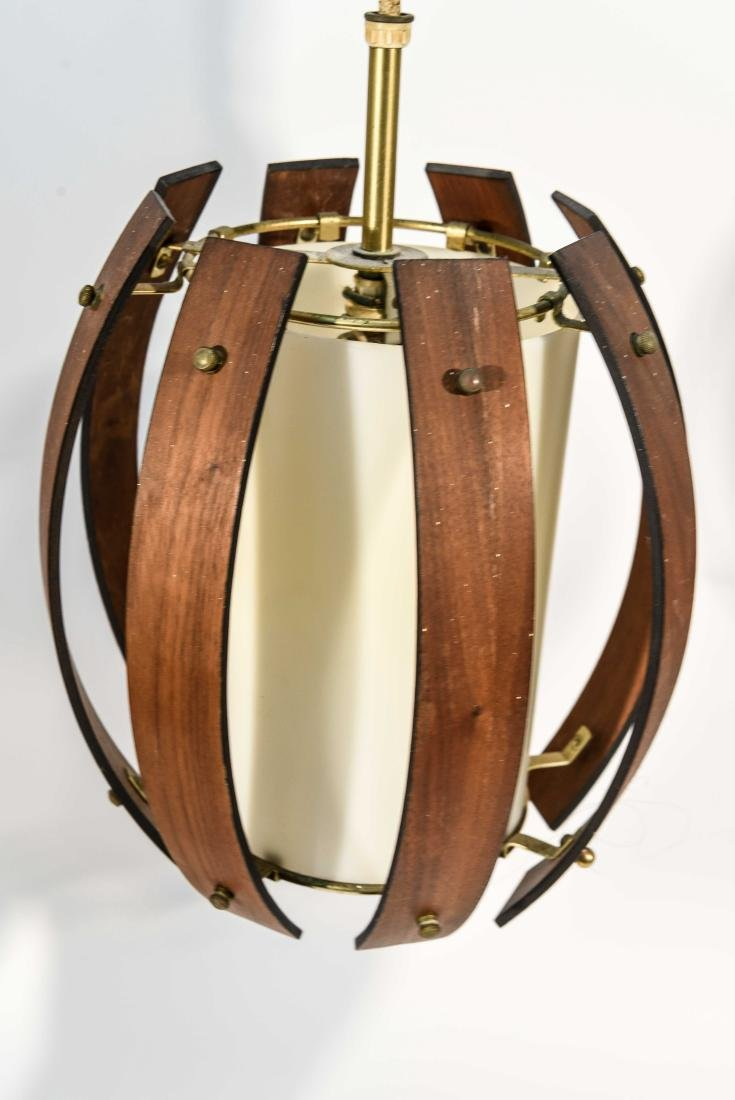 PAIR OF MID-CENTURY BENT WOOD PENDANT LAMPS - 2