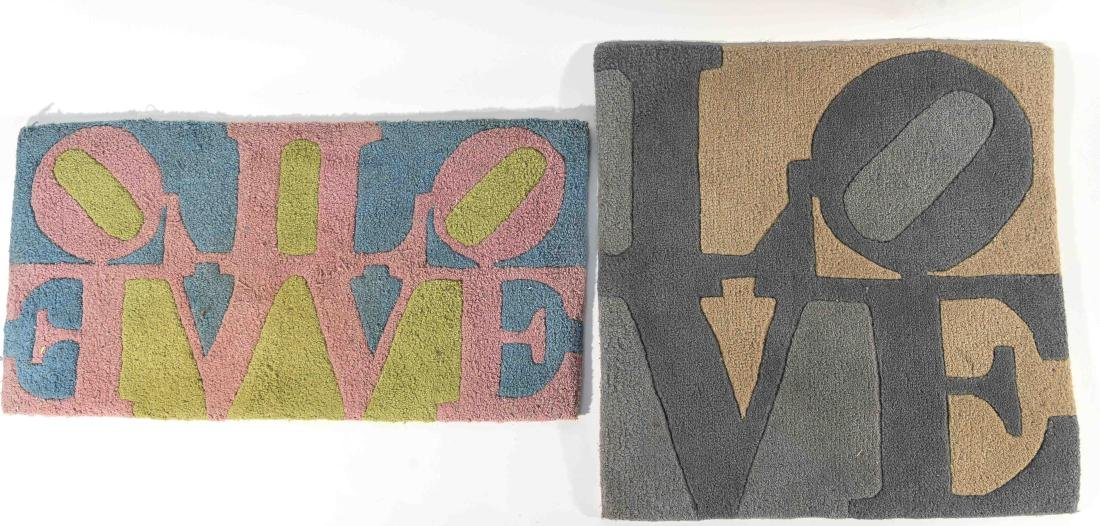 (2) ROBERT INDIANA LOVE RUGS