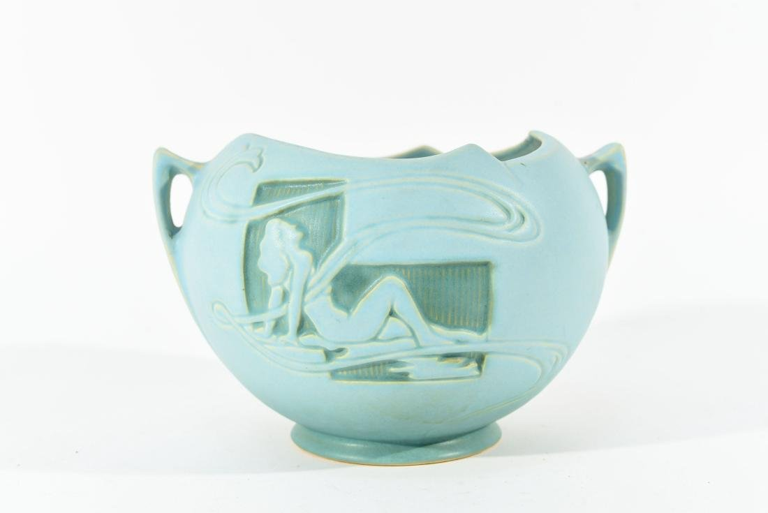 ROSEVILLE SILHOUETTE TURQUOISE NUDE BOWL
